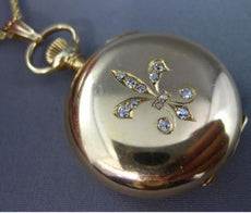 ESTATE WALTHAM .25CT OLD MINE DIAMOND 14K YELLOW GOLD FLEUR DE LIS WATCH PENDANT