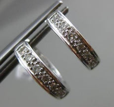 ESTATE .16CT DIAMOND 14KT WHITE GOLD 3D CLASSIC SIX STONE HUGGIE EARRINGS