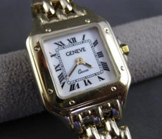 ESTATE 14KT YELLOW GOLD ROMAN NUMERAL SQUARE FACE GENEVE LADIES WATCH #24211