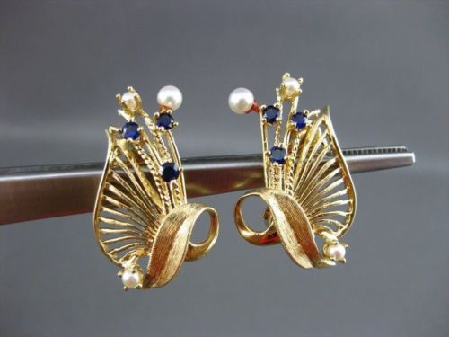 ANTIQUE AAA PEARL & SAPPHIRE 14KT YELLOW GOLD HANDCRAFTED CLIP ON EARRINGS 22573