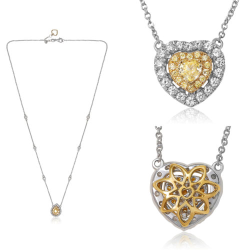 .72CT WHITE & FANCY YELLOW DIAMOND 18K 2 TONE GOLD 3D BY THE YARD HEART NECKLACE