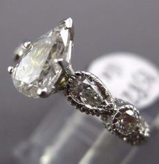 LARGE 1.83CT PEAR SHAPE & ROUND DIAMOND 18KT WHITE GOLD FILIGREE ENGAGEMENT RING