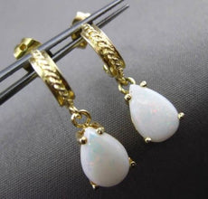 ANTIQUE 1.50CT AAA OVAL OPAL 14KT YELLOW GOLD FILIGREE HANGING EARRINGS #23456
