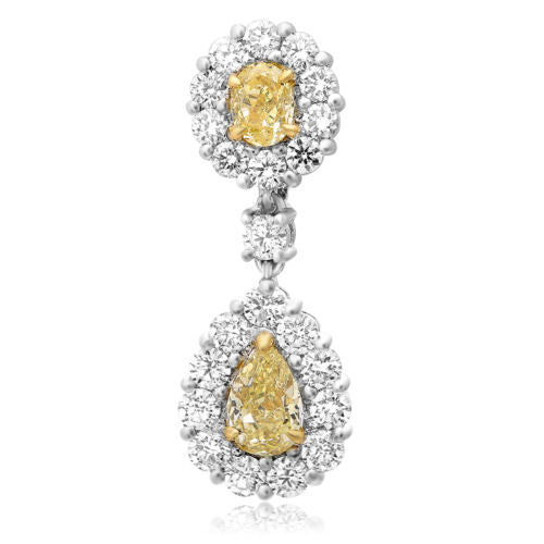 4.80CT WHITE & FANCY YELLOW DIAMOND 18K TWO TONE GOLD TEAR DROP HANGING EARRINGS