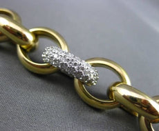 ESTATE WIDE & LONG .70CT DIAMOND 14K WHITE & YELLOW GOLD ITALIAN LINK BRACELET