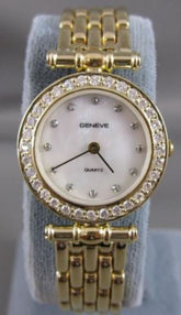 "NEW .82CTW DIAMOND 14KT YELLOW GOLD MOP SWISS GENEVE WATCH SEALED 7.50"" #20445"