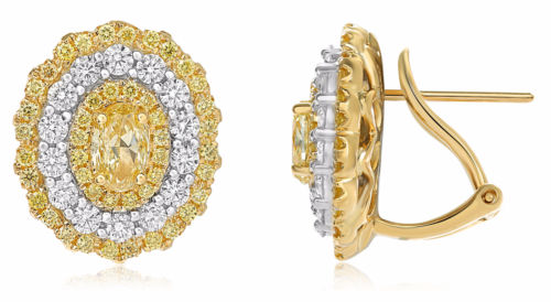 LARGE 2.42CT WHITE & FANCY YELLOW DIAMOND 18KT 2 TONE GOLD OVAL CLIP ON EARRINGS