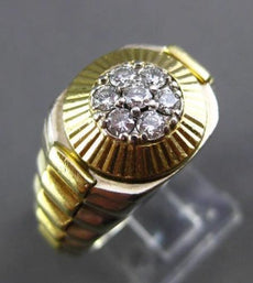 ESTATE WIDE .30CT DIAMOND 14KT WHITE & YELLOW GOLD 3D ROLEX LINK MENS GYPSY RING