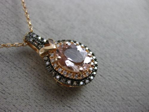 1.33CT CHOCOLATE FANCY DIAMOND & AAA AMETHYST MORGANITE 14KT ROSE GOLD PENDANT