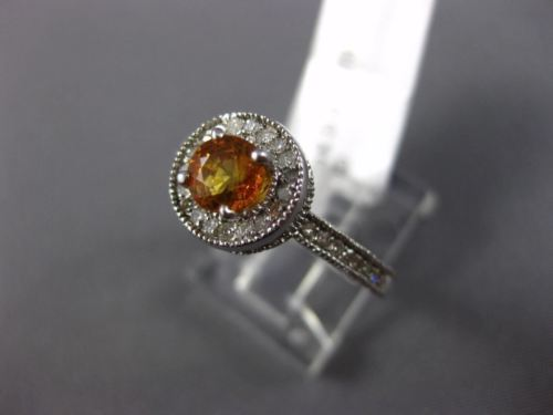 1.40CT DIAMOND & AAA YELLOW SAPPHIRE 14KT WHITE GOLD 3D FILIGREE ENGAGEMENT RING