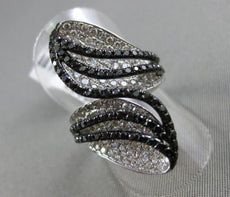 ESTATE MASSIVE 3.18CT WHITE & BLACK DIAMOND 14K WHITE GOLD 3D LEAF COCKTAIL RING