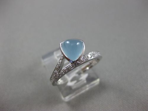 WIDE 1.35CT DIAMOND & AAA CABOCHON AQUAMARINE 18KT WHITE GOLD TRILLION LOVE RING