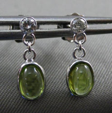 ESTATE .83CT DIAMOND GREEN AMETHYST 14KT WHITE GOLD OVAL ETOILE HANGING EARRINGS