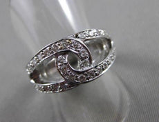 ANTIQUE WIDE .70CT DIAMOND 14KT WHITE GOLD OPEN LOVE INFINITY FUN RING #11096