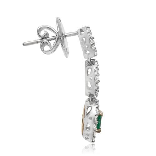 ESTATE 1.70CT DIAMOND & AAA EMERALD 18KT 2 TONE GOLD 3D JOURNEY HANGING EARRINGS