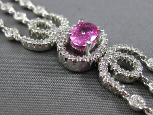 ESTATE WIDE 8.31CT DIAMOND & PINK SAPPHIRE 18K WHITE GOLD 3D MULTI ROW BRACELET