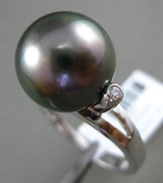 ESTATE DIAMOND 14KT WHITE GOLD AAA TAHITIAN PEARL SOLITAIRE ETOILE TENSION RING