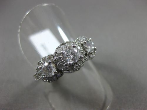 ESTATE 1.25CT DIAMOND 14KT WHITE GOLD 3 STONE FILIGREE MILGRAIN FRIENDSHIP RING