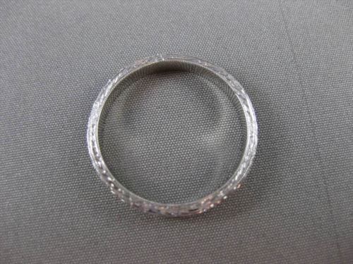 ANTIQUE 14K WHITE GOLD 3D FILIGREE ETERNITY WEDDING ANNIVERSARY BAND RING #23250