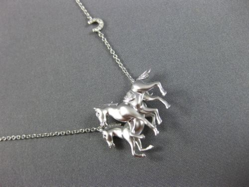 ESTATE .06CT ROUND DIAMOND 14KT WHITE GOLD 3D DOUBLE HAPPY HORSE FUN NECKLACE