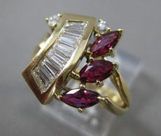 ANTIQUE LARGE 1.45CT DIAMOND & AAA RUBY 14KT YELLOW GOLD COCKTAIL RING #22045