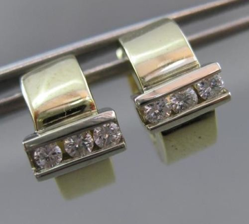 ESTATE WIDE .30CT DIAMOND 14K WHITE & YELLOW GOLD 3 STONE HUGGIE EARRINGS #1857