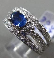ESTATE WIDE 1.19CT DIAMOND & AAA BLUE SAPPHIRE 14K WHITE GOLD 3D ENGAGEMENT RING