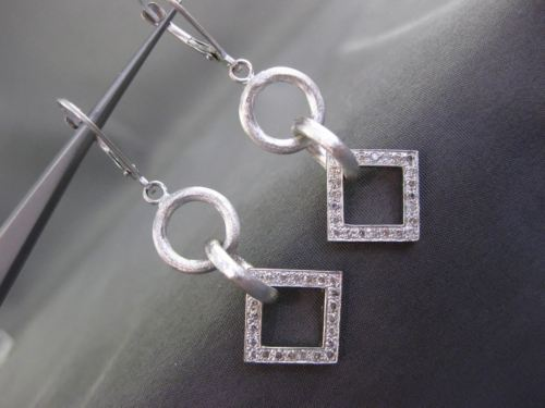ESTATE .46CT DIAMOND 14K WHITE GOLD MATTE & SHINY CIRCLE SQUARE HANGING EARRINGS