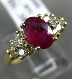 ESTATE 1.23CT DIAMOND & AAA RUBY 14KT YELLOW GOLD 3D OVAL ENGAGEMENT RING #2451