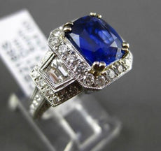 ESTATE LARGE 4.30CT DIAMOND & SAPPHIRE 18KT WHITE GOLD FILIGREE ENGAGEMENT RING