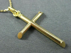 ESTATE 14KT YELLOW GOLD CLASSIC SIMPLE CROSS FLOATING PENDANT WITH CHAIN #24864