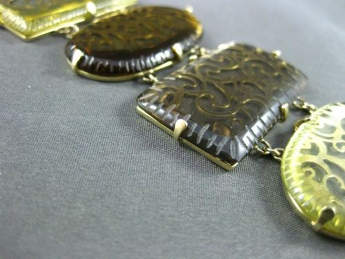 ESTATE MASSIVE DIAMOND YELLOW & SMOKEY TOPAZ 14KT YELLOW GOLD FILIGREE BRACELET