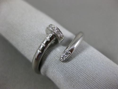 ESTATE .08CT ROUND DIAMOND 14KT WHITE GOLD 3D CLASSIC CRISS CROSS NAIL FUN RING