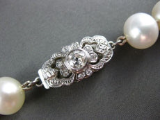 ANTIQUE .35CT OLD MINE DIAMOND 14K WHITE GOLD SINGLE STRAND PEARL NECKLACE 19926