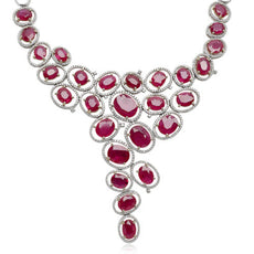 EGL CERTIFIED LARGE 45.57CT DIAMOND & AAA RUBY 18KT WHITE GOLD 3D GRAPE NECKLACE