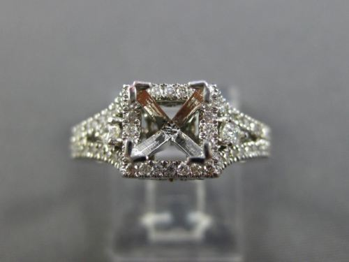 ESTATE WIDE .50CT DIAMOND 14KT WHITE GOLD SQUARE HALO SEMI MOUNT ENGAGEMENT RING