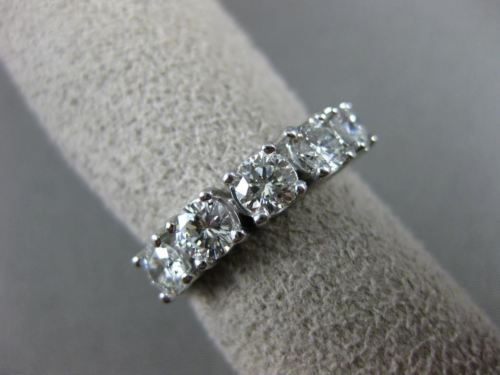 ESTATE 1.35CT DIAMOND 14K WHITE GOLD 3D FIVE STONE WEDDING ANNIVERSARY RING 2058
