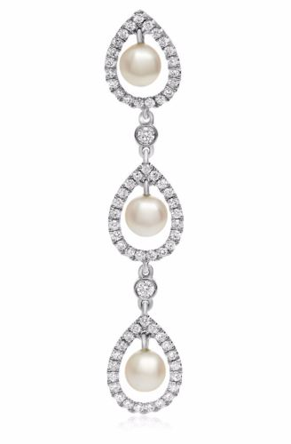 .53CT DIAMOND & AAA SOUTH SEA PEARL 18KT WHITE GOLD 3D TEAR DROP JOURNEY PENDANT