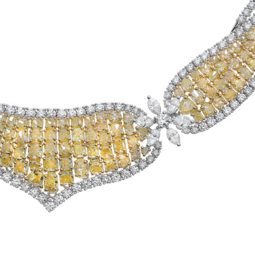 ESTATE EXTRA LARGE 32CT WHITE & FANCY YELLOW DIAMOND 18K 2 TONE GOLD 3D NECKLACE