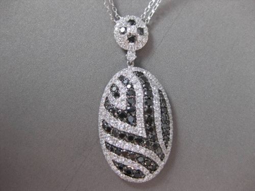 ESTATE LARGE 5.18CT BLACK & WHITE DIAMOND 18KT WHITE GOLD OVAL FLOATING NECKLACE