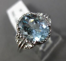 ESTATE 2.59CT DIAMOND & AQUAMARINE 14KT WHITE GOLD 3D OVAL HALO ENGAGEMENT RING