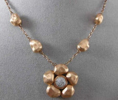 ESTATE .16CT DIAMOND 14K WHITE & ROSE GOLD HANDCRAFTED 3D FLOWER HAMMER NECKLACE