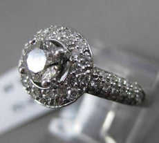 ESTATE 1.20CT DIAMOND 14KT WHITE GOLD 3D HALO TWO ROW ROUND ENGAGEMENT RING