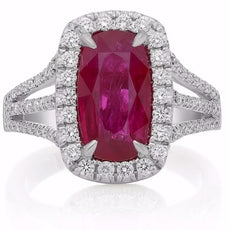 ESTATE LARGE 3.74CT ROUND DIAMOND & AAA RUBY 18K WHITE GOLD HALO ENGAGEMENT RING