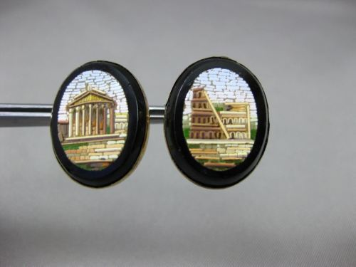 ANTIQUE 14K YELLOW GOLD 3D MOSAIC OVAL ROMAN VICTORIAN EARRINGS BEAUTIFUL! 24656