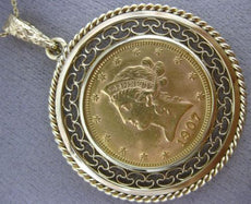 MASSIVE 22K & 14K YELLOW GOLD 1907 AMERICAN EGAL 10 DOLLAR LIBERTY COIN PENDANT
