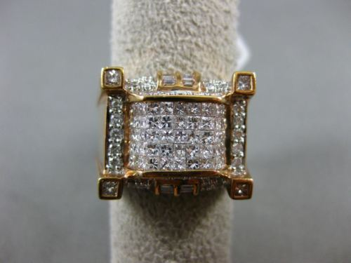 LARGE 2.45CT ROUND BAGUETTE & PRINCESS DIAMOND 14K ROSE GOLD 3D SQUARE MENS RING