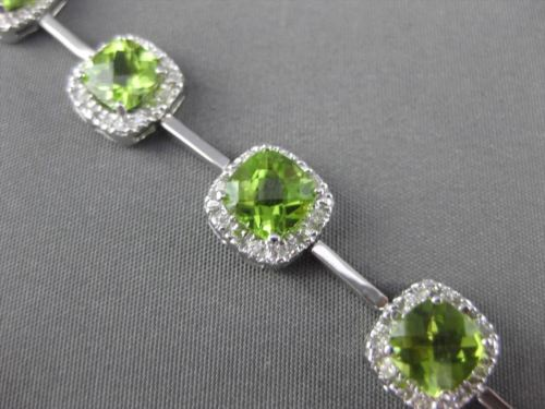ESTATE WIDE 9.47CTW DIAMOND & AAA PERIDOT 14KT WHITE GOLD SQUARE HALO BRACELET