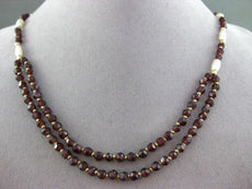 ESTATE 14KT YELLOW GOLD AAA GARNET & AAA PEARL DOUBLE STRANDED NECKLACE #20589