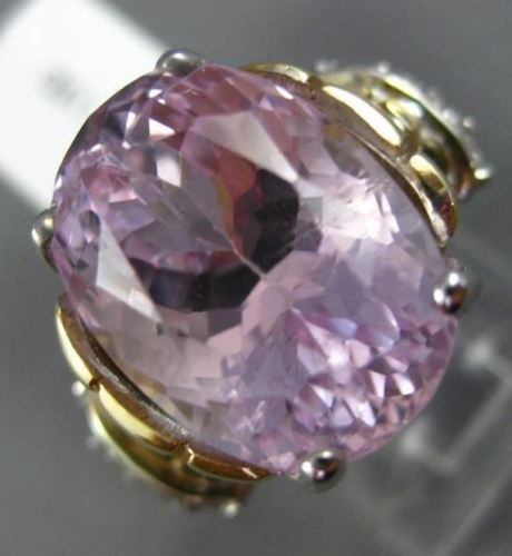 EXTRA LARGE 14.57CT DIAMOND & AAA OVAL KUNZITE 14KT 2 TONE GOLD ENGAGEMENT RING